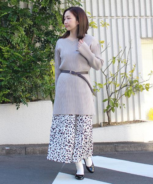 [STYLE AVENUE] レオパードプリーツフレアスカート
