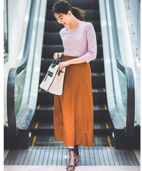 [green label relaxing] [リネンライク] ◆FM トリアセ/PE フレアマキシ スカート