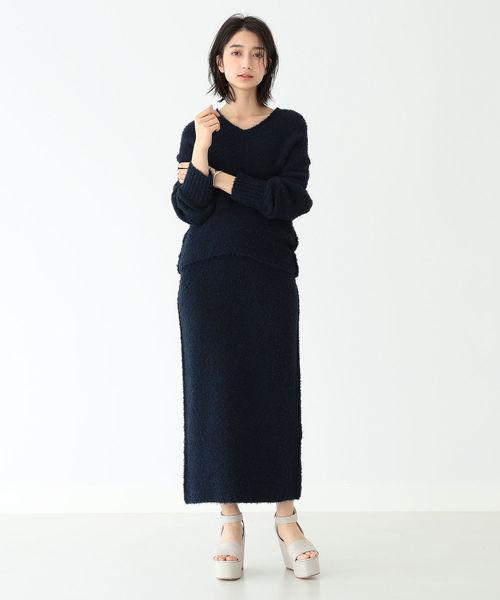 [BEAMS WOMEN] Demi-Luxe BEAMS / カールヤーン ニットスカート