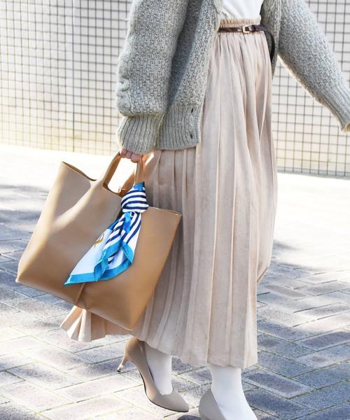 [Histoire] スカーフ付きタック2WAYトートバッグ/巾着袋・ショルダーストラップ付き
