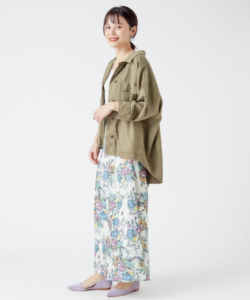 植物柄ロングスカート