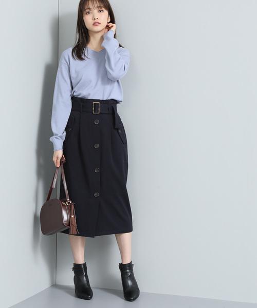 ベルト付きトレンチIラインスカート