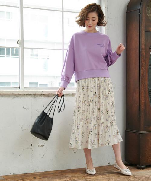 [ROPE' PICNIC] フラワープリーツスカート
