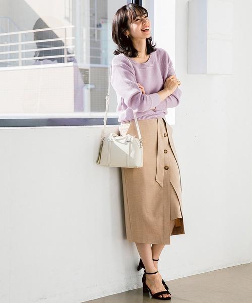 TRマエボタンタイトスカート