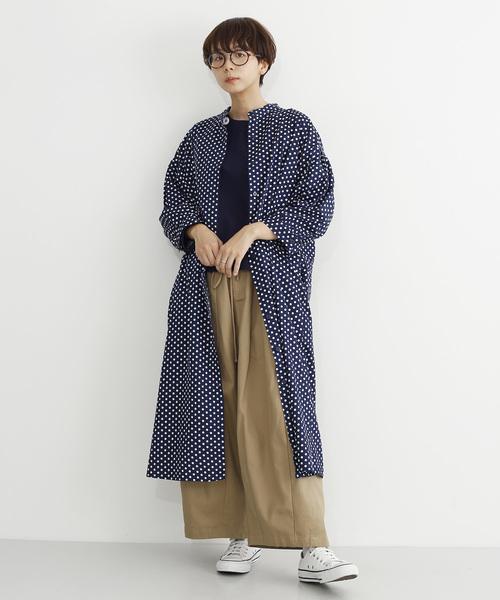 [merlot] バンドカラードットシャツワンピース2605