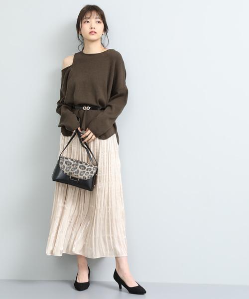 [ViS] 【泉里香さん着用】シャイニーサテンフェードアウトプリーツスカート