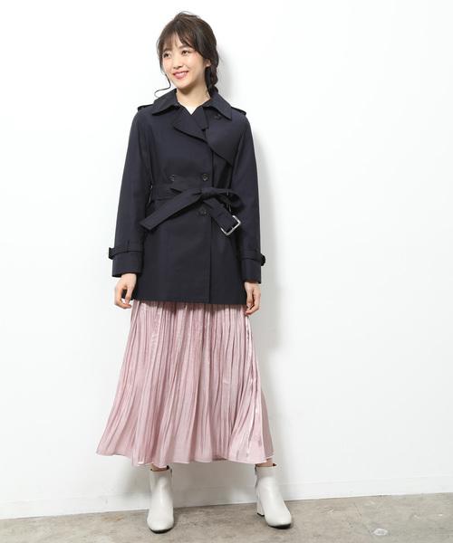[ViS] 【花粉ガード&撥水加工】ショートトレンチコート