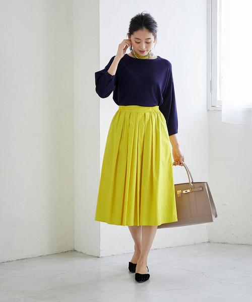 [ROPE'] 【WEB限定】タイプライタータックギャザースカート