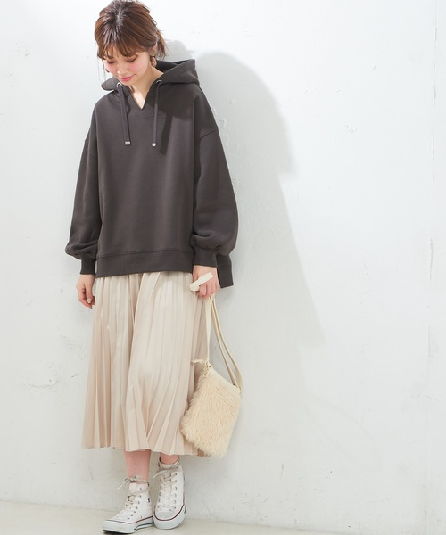 [natural couture] セットプリーツ微光沢スカート