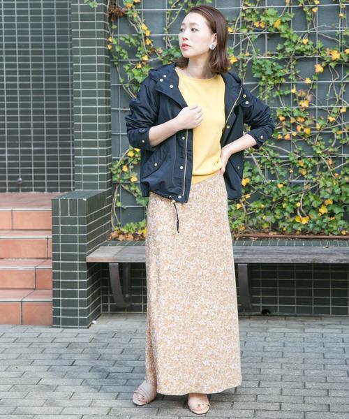 Aラインフラワープリントスカート