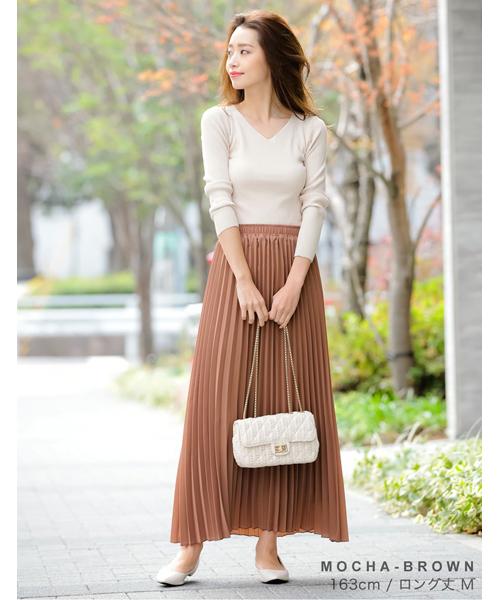 ロング丈ジョーゼットプリーツスカート