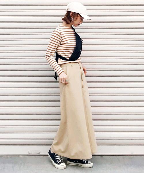[AZUL ENCANTO] 【手洗いできる】【消臭効果】フロント釦トラぺーズライン ロングスカート