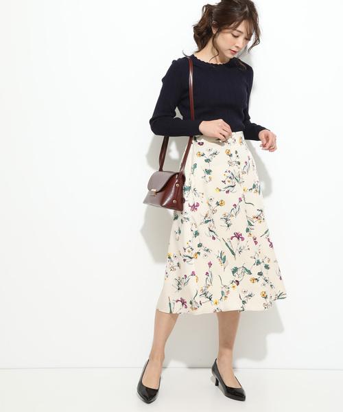 [ViS] 変形リブスカラップ衿ニットプルオーバー