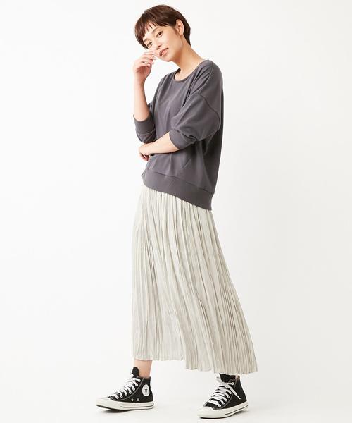 [Discoat] サテンランダムプリーツスカート