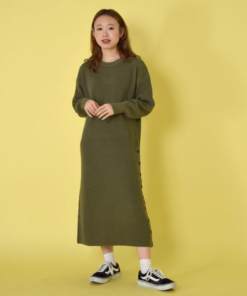 [w closet] ワッフル編みサイドボタンワンピース