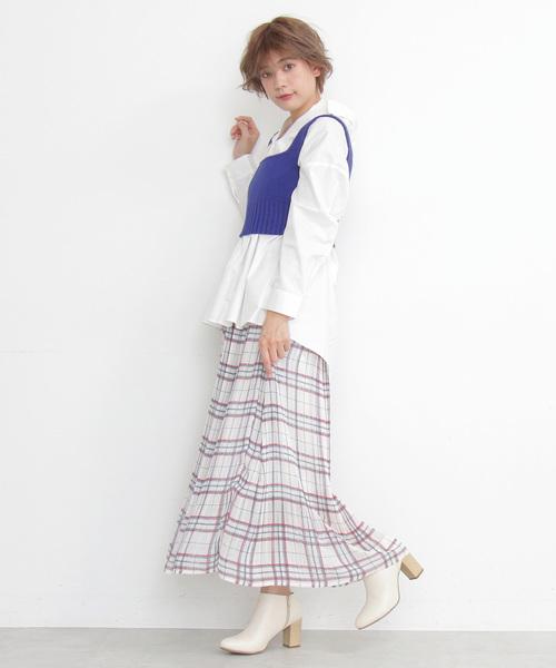 [FREE'S MART] ◆消しプリーツチェックマキシスカート