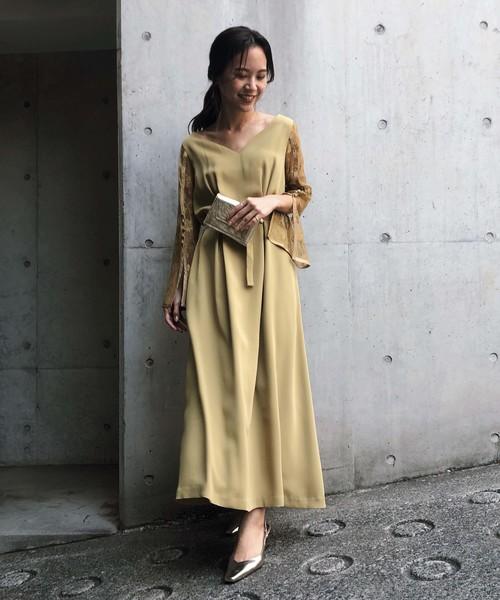 [Ameri VINTAGE] LACE SLEEVE REFINED DRESS