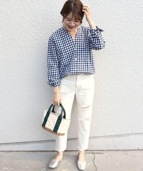 [SHIPS for women] SHIPS Days STANDARD:スキッパー チェックシャツ 19SS ◆