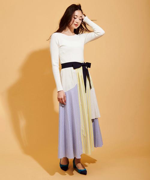 [The Virgnia] カラーストライプ切替スカート2