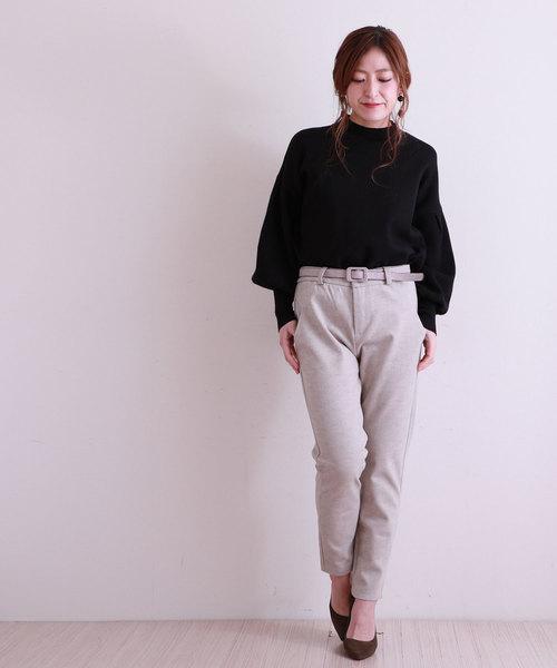 [Sawa a la mode] ベルト付きの美脚魅せするシンプルパンツ