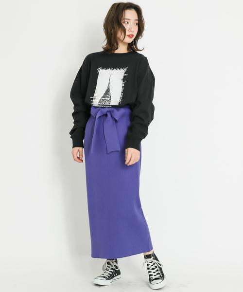 細リブニットスカート