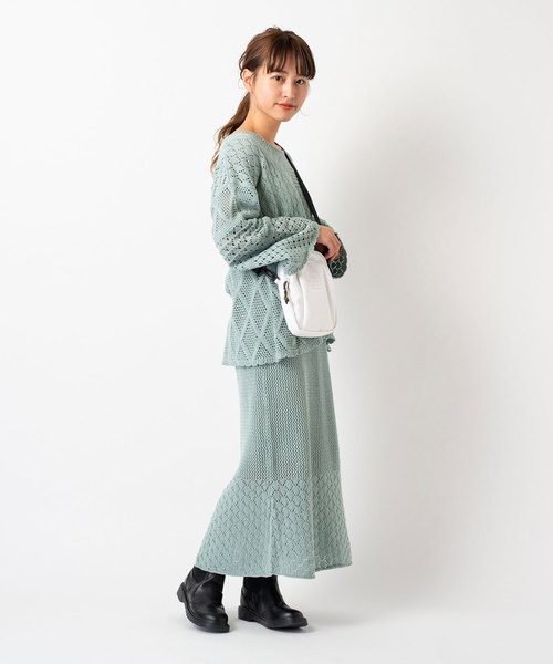 [Kastane] 柄編み切り替えニットスカート