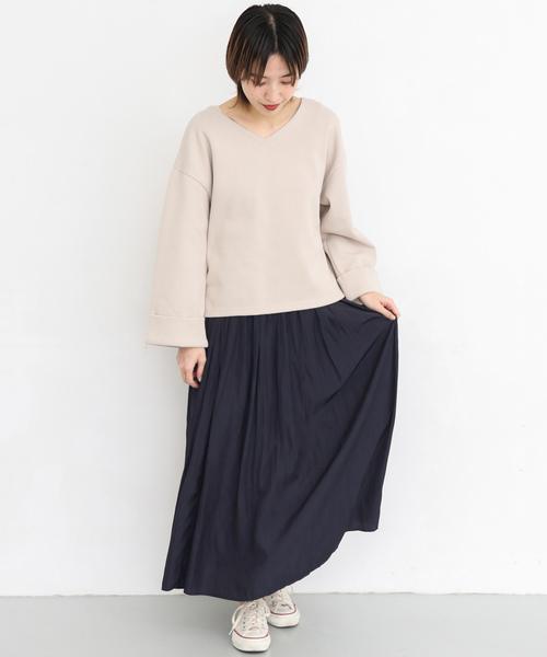 [KBF] KBF+ 消しプリーツサテンロングスカート