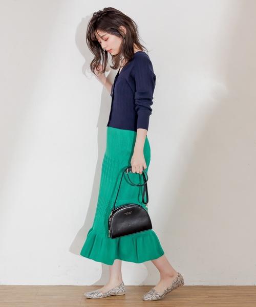 [natural couture] プチプラ金ボタンリブカーディガン
