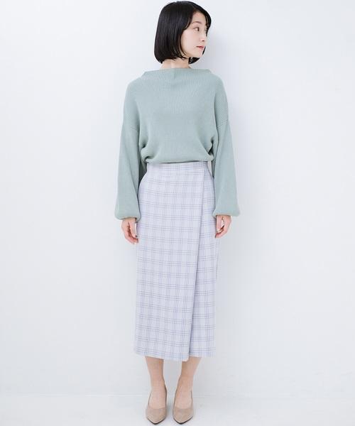スカートみたいな華やかチェックパンツ