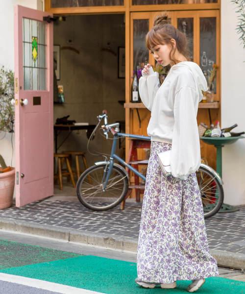 [SpRay] 花柄フレアロングスカート