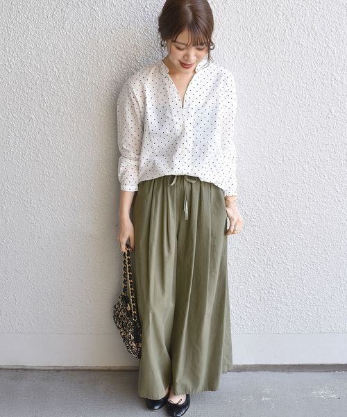 [SHIPS for women] SHIPS Days STANDARD:ドット スキッパーシャツ 19SS ◆