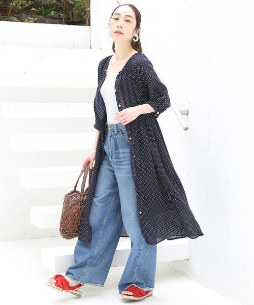 [coen] ドットシャツワンピース