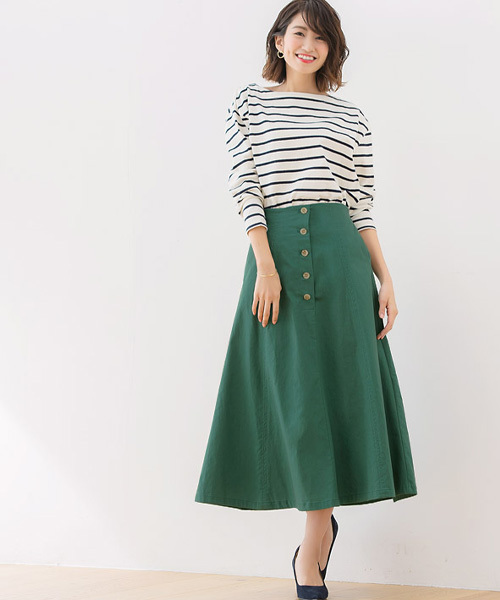 [Pierrot] 綿プリペラフレアロングスカート
