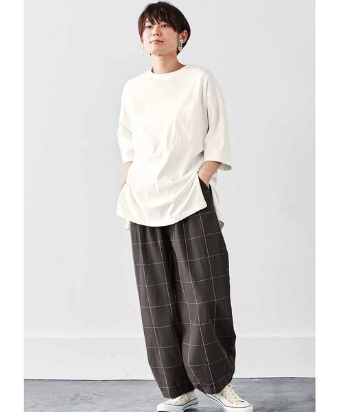 [FELISSIMO] MEDE19F リメイク風デザインのビッグTシャツ