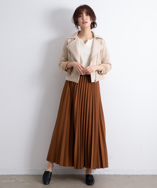 AUNT MARIE'S カノコプリーツマキシスカート