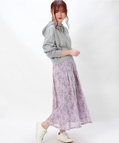 [ASTORIA ODIER] 花柄タックロングスカート