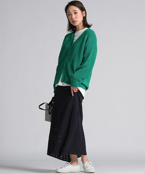 幾何柄編みニットタイトスカート