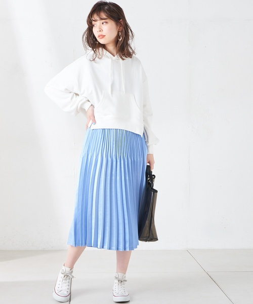 [natural couture] シャイニーサテンダブルプリーツスカート