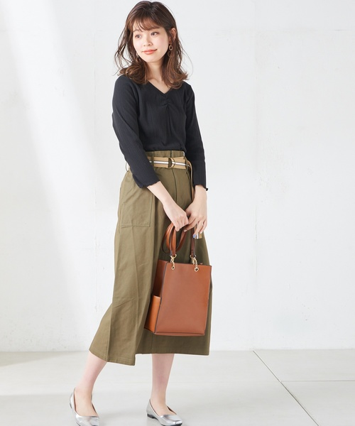[natural couture] ラインベルト付きチノスカート