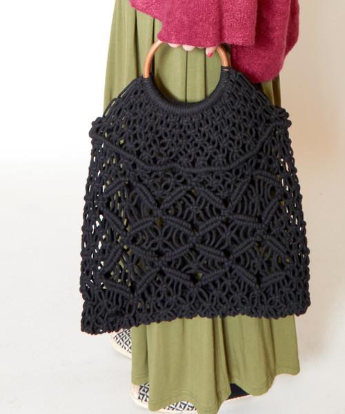 [チャイハネ] 【カヤ】七宝柄マクラメ編みハンドバッグ