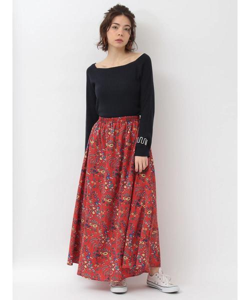 [koe] 花柄マキシスカート