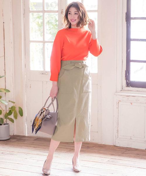 ウエストリボン付き2Wayストレッチタイトスカート
