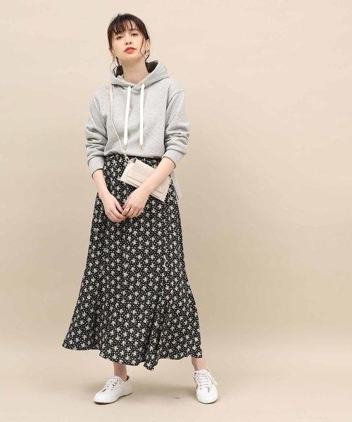 [ROPE'] 【WEB限定】フラワープリント楊柳フレアスカート