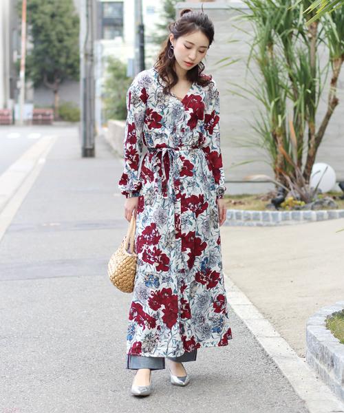 [Bou Jeloud] 花柄シャツディガンワンピース