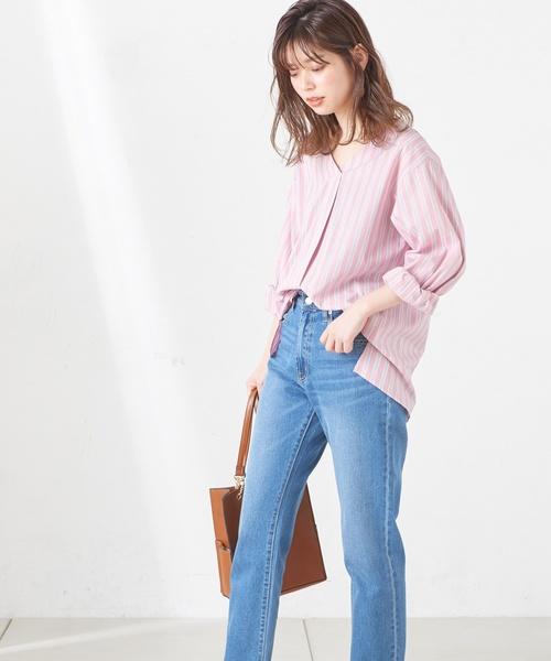 [natural couture] 後ろDカンベルトスキッパーシャツ