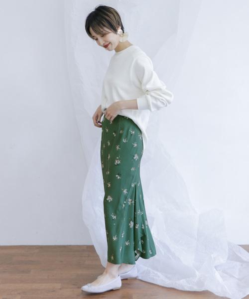 [KBF] フラワーイレヘムバイアススカート