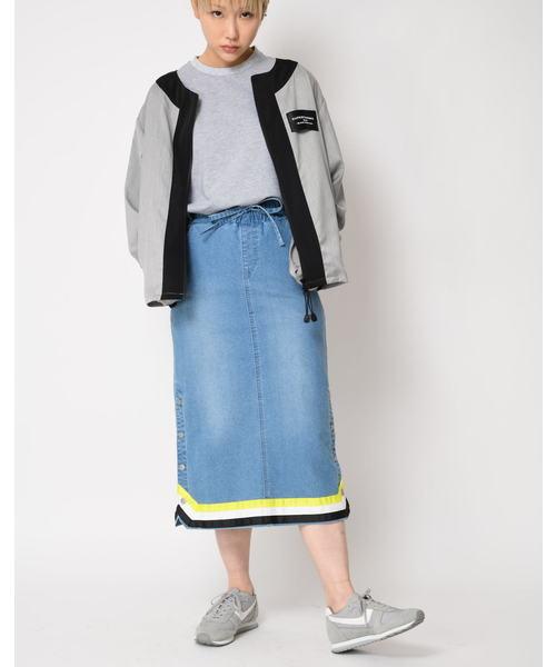 [SUPERTHANKS BOX] 3ラインテープデニムタイトスカート