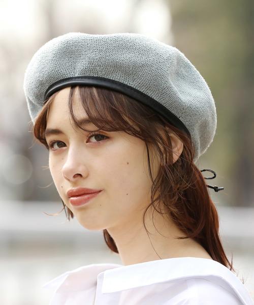 [ViS] 合皮パイピング付きサーモベレー帽