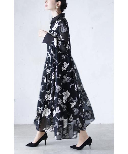 [cawaii] 美しく魅せるエレガントな黒の花柄ワンピース