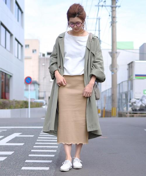 [reca] リブメローバックスリットストレッチタイトスカート